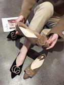 春新款韓版晚晚鞋平底仙女百搭豆豆鞋一腳蹬淺口尖 伊蒂斯女裝