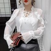 現貨寄出 秋冬新款時尚系帶荷葉邊雪紡襯衫女設計感小眾百搭網紗上衣潮