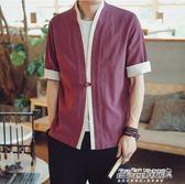 開衫男 中國風襯衫男士短袖襯衣潮漢服開衫外套民族風衣大碼裝日繫和服   傑克型男館