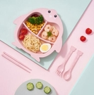兒童餐盤 小麥秸稈碗筷套裝幼兒園寶寶餐盤分格吃飯盤卡通防摔餐具【快速出貨八折鉅惠】