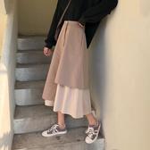 新款韓版中長款裙子複古拼接日系不規則A字長裙學生半身裙秋冬女