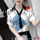 熱賣雪紡上衣 印花雪紡襯衫女設計感小眾2021年夏季新款氣質洋氣小衫短袖上衣薄 coco