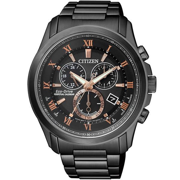 【台南 時代鐘錶 CITIZEN】星辰 光動能 洗鍊風格萬年曆計時腕錶 BL5545-50E 黑鋼 43mm 公司貨開發票