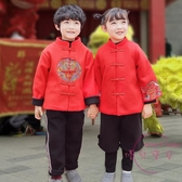 兒童新年衣服 女童唐裝冬季漢服新年裝衣服兒童兒童中國風童裝禮過年套裝拜年服【快速出貨】