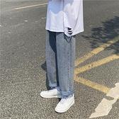 夏季牛仔褲男寬鬆直筒潮流港風日系復古墜感闊腿九分休閒褲子