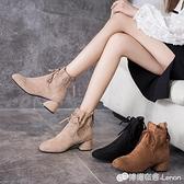 切爾西短靴女秋冬季新款英倫風百搭加絨粗跟米色高跟馬丁靴