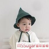 寶寶盆帽薄款春季兒童巫師帽奶嘴女童可愛帽子漁夫帽棉麻嬰兒帽子