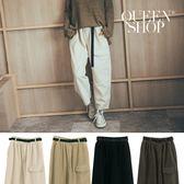 Queen Shop【04101395】燈芯絨造型腰帶休閒褲 四色售*現+預*