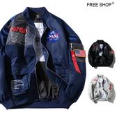 Free Shop 美國NASA太空總署刺繡貼章飄帶軍風飛行外套 MA-1外套 飛行夾克 小中大尺碼【QTJYZ966】