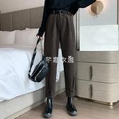 哈倫褲 新款韓版帥氣寬松百搭工裝褲潮休閒哈倫褲毛呢褲女裝 快速出貨