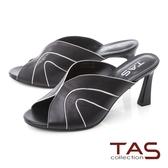 TAS羊皮滾邊曲線魚口高跟涼拖鞋–百搭黑