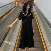 洋裝中大尺碼連身裙M-4XL法國復古裙中長款過膝連衣裙寬松娃娃領短袖裙子女連衣裙.4F039.1號公館