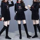 VK精品服飾 韓國學院風金絲絨寬松時尚休閒長袖洋裝