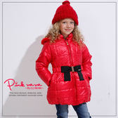 PINKNANA童裝 中大童素色點點連帽保暖大衣 女童防風外套32226
