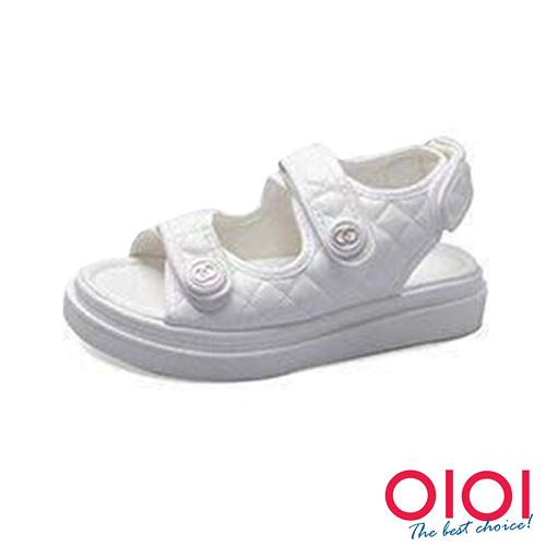 涼鞋 魔鬼氈小香風厚底涼鞋(白)*0101shoes【18-1016w】【現貨】