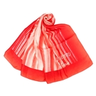 LANVIN渲染直紋草寫LOGO印花披肩絲巾(紅色)487999