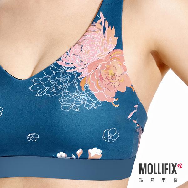 Mollifix 瑪莉菲絲 小V肩帶可調運動內衣 (堇簇藍)