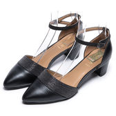 DIANA 魅力星芒--閃耀串珠性感拼接時尚瑪麗珍跟鞋-經典黑★特價商品恕不能換貨★