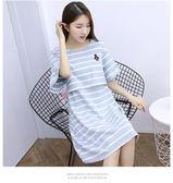 哺乳睡裙夏季寬鬆薄款期時尚孕婦睡衣產后哺乳衣外出喂奶連身裙女洋裝-BB奇趣屋