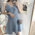 吊帶洋裝女夏2021新款韓版復古時尚氣質牛仔裙荷邊葉收腰背心裙 【端午節特惠】