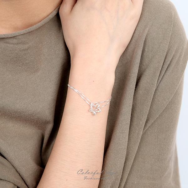 手鍊 925純銀星星扭轉雙鍊 優質精美具抗過敏 禮物【NPA78】
