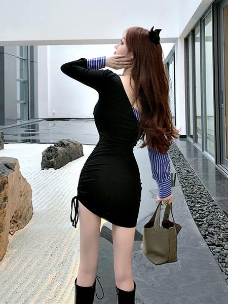 克妹Ke-Mei【ZT64813】KOREA韓國春新品併接襯杉性感抹胸露肩洋裝
