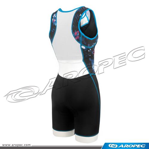 女款   Tri-Slick  無袖短褲 連身三鐵競速衣 (前開式)   SS-3TS-115P-W-Geom    【AROPEC】