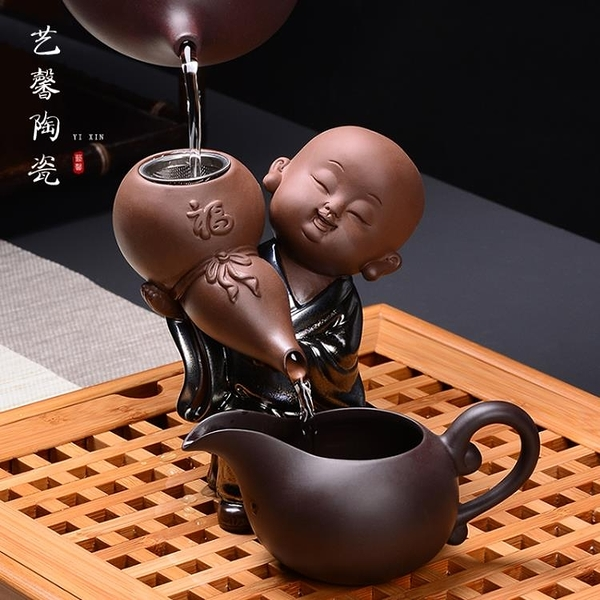 創意小和尚紫砂茶漏 功夫茶具道配件陶瓷沙彌泡茶過濾器網