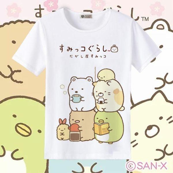 T恤 角落生物T恤二次元動漫周邊童裝可愛貓咪白熊企鵝炸豬排短袖衣服【美物居家館】
