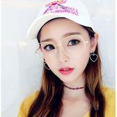現貨-新款時尚百搭平光鏡不規則個性金屬平光鏡男女同款大框修臉潮人眼鏡框歐美227