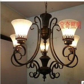 設計師美術精品館吊燈歐式復古餐廳燈客廳燈飯廳燈簡歐燈具仿古書房田園燈新款特價