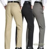 夏季薄款中年男士休閒褲高腰中老年直筒大碼簡約百搭爸爸裝長褲子「時尚彩紅屋」