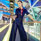 夏裝新款歐洲站時尚百搭拼接假兩件連身褲牛仔寬褲連體褲女