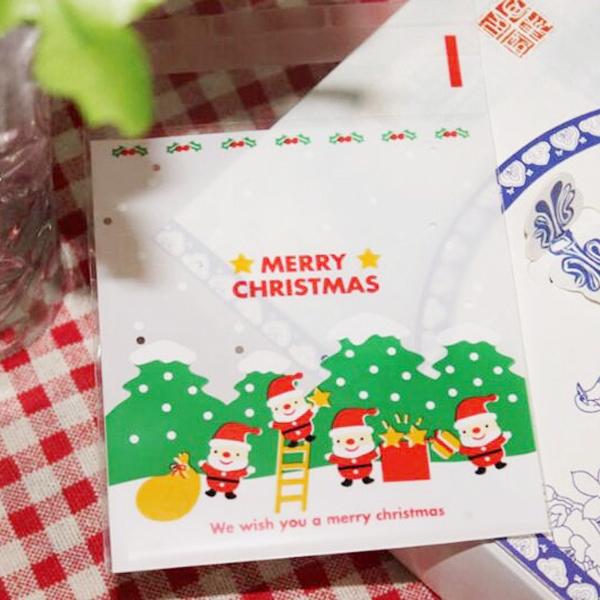 【BlueCat】聖誕節四老人爬樓梯透明自黏袋 opp袋 小號(100入)