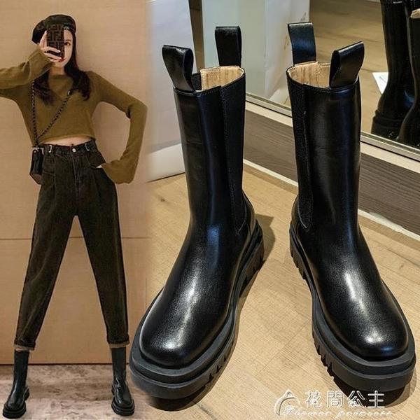 靴子馬丁靴女新款春秋季厚底切爾西短靴英倫風中筒單靴mona同款鞋 快速出貨