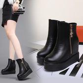 33-34 小碼女鞋 內增高2017秋冬季松糕鞋厚底短靴加絨防滑