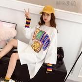 MG 長版上衣春裝新款韓版寬鬆中長款下衣失蹤長袖T恤女上衣服小衫