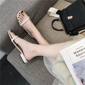 網紅同款拖鞋低跟女2019春夏新款港風外穿時尚一字拖百搭中跟涼拖