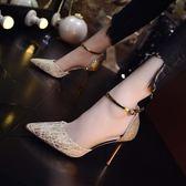 高跟鞋 名媛小清新高跟鞋細跟性感銀色伴娘婚鞋 巴黎春天