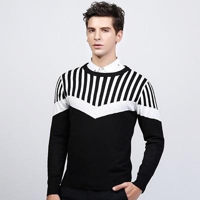 針織毛衣 長袖-時尚條紋拼接圓領男針織衫2色73ik92【時尚巴黎】