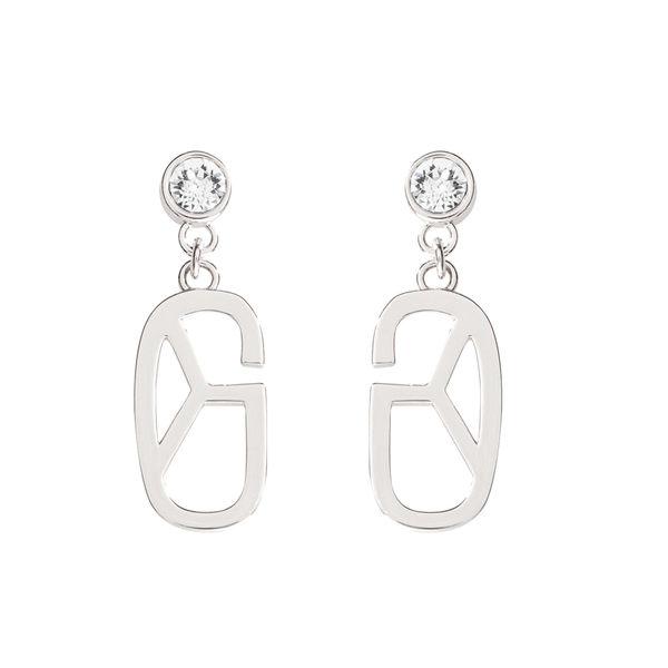 耳環 Earring Monogram Diamond 白金 銅鍍 施華洛世奇水鑽