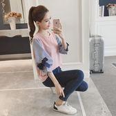 2018春裝新款韓版女裝寬鬆七分袖假兩件上衣bf潮中袖長袖T恤學生