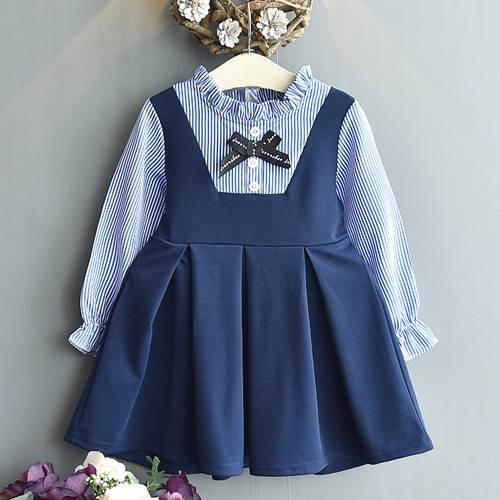 長袖上衣 韓版女童氣質假兩件學院風洋裝