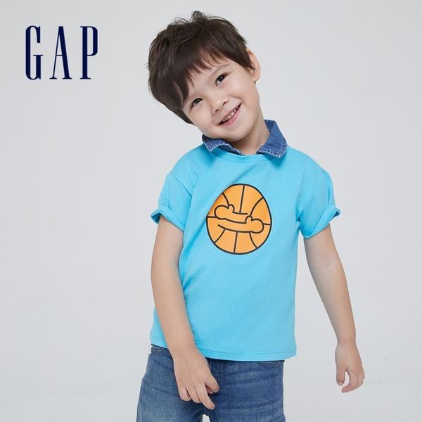 Gap男幼童 Gap x Ken Lo 藝術家聯名系列純棉短袖T恤 854744-湖藍色