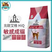 寵物FUN城市│北歐艾格 HiQ 敏感成貓 專用飼料【1.8kg】 貓飼料 貓糧