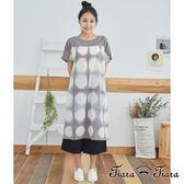【Tiara Tiara】百貨同步 大水玉印染短袖洋裝(藍/淺咖啡)