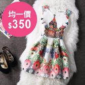 洋裝 韓版 復古印花修身連身裙 小禮服 花漾小姐【現貨】