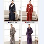 限定款浴袍睡衣男秋冬季 新品加長款大碼保暖珊瑚絨浴袍加厚法蘭絨睡袍