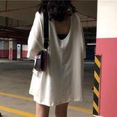 原宿韓版學生潮 鏤空半袖露背上衣 夏季中長款圓領短袖