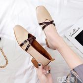 鞋子女2019新款百搭韓版學生單鞋女平底瓢鞋秋季豆豆鞋粗跟晚晚鞋『櫻花小屋』